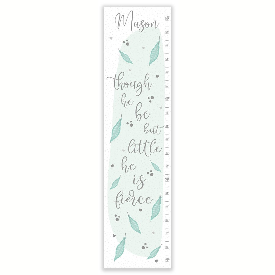 Image of Though He Be But Little He is Fierce Canvas Personalized Growth Chart