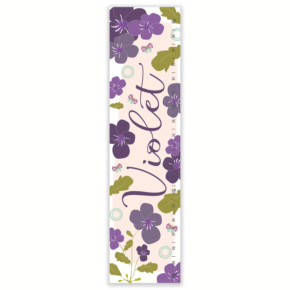 Image of Violet Floral Personalized Canvas Growth Chart