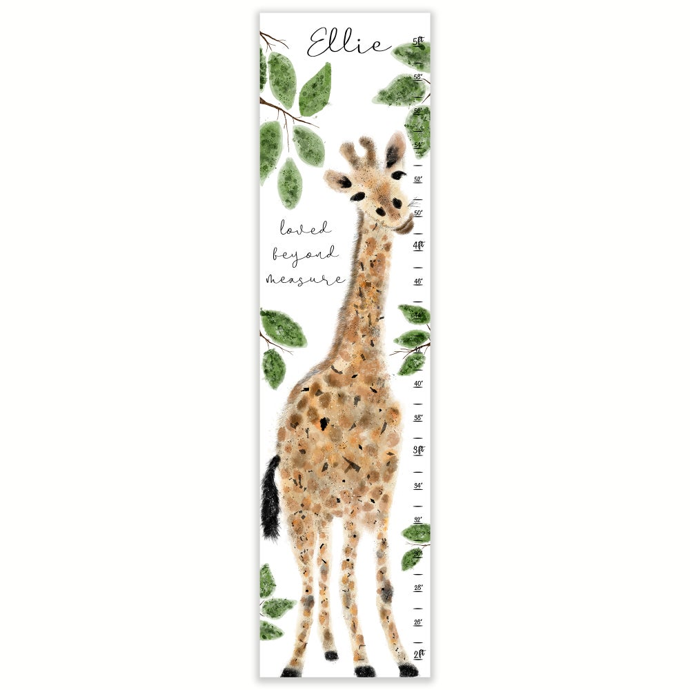 Image of Watercolor Giraffe Loved Beyond Measure Personalized Canvas Growth Chart