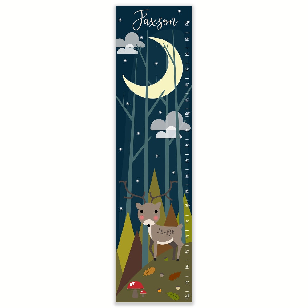 Image of Deer in Night Woodland Forest Personalized Canvas Growth Chart