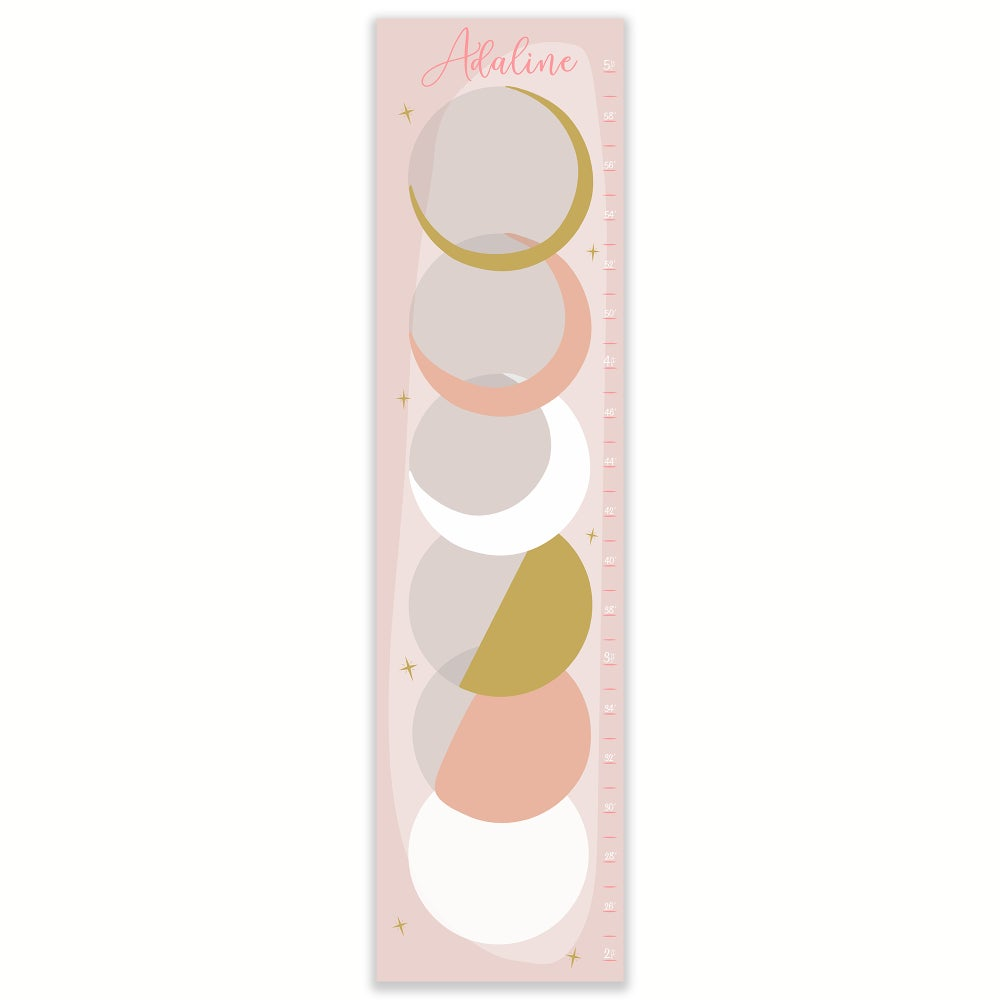 Image of Blush Pink and Gold Phases of the Moon Personalized Canvas Growth Chart