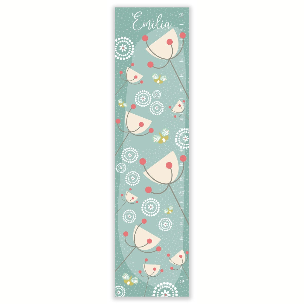 Image of Floral Personalized Canvas Growth Chart