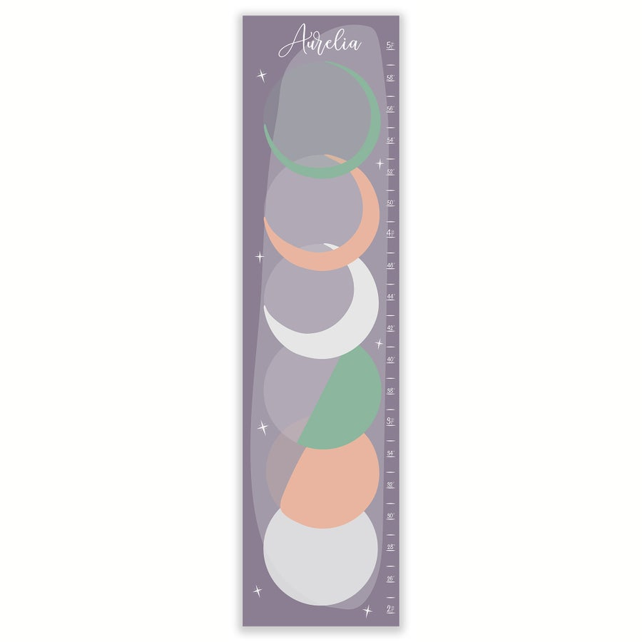 Image of Lavender and Mint Phases of the Moon Personalized Canvas Growth Chart
