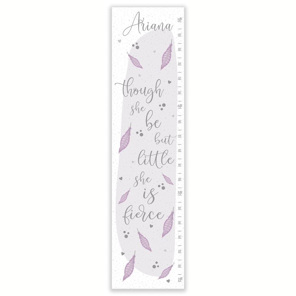 Image of Though She Be But Little Feathers Personalized Canvas Growth Chart