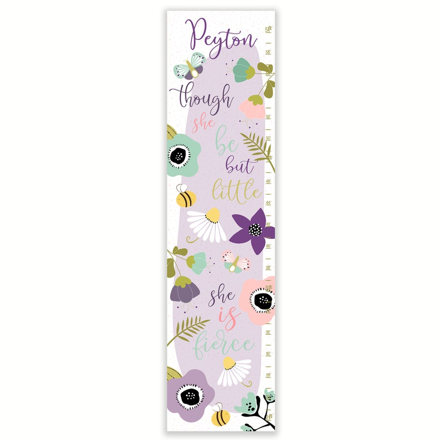 Image of Though She Be But Little Purple Floral Personalized Canvas Growth Chart