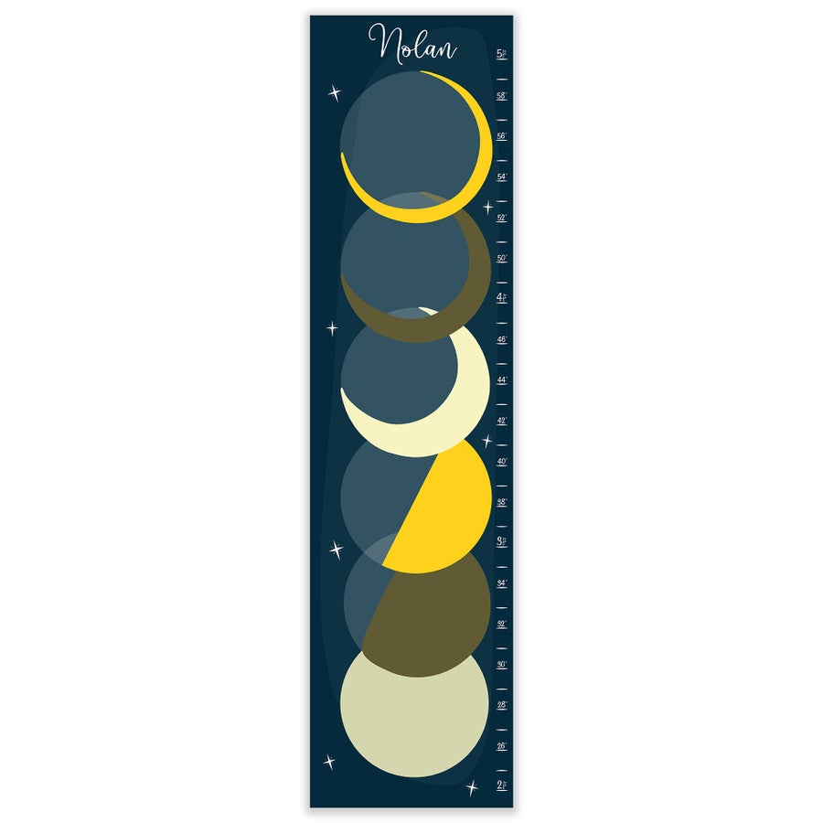 Image of Navy and Yellow Phases of the Moon Personalized Canvas Growth Chart
