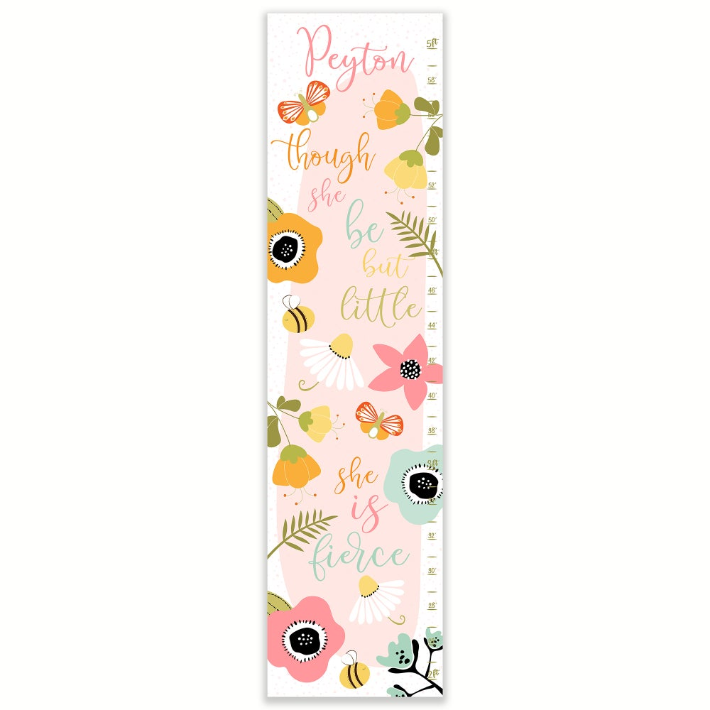 Image of Though She Be But Little She is Fierce Pink Personalized Canvas Growth Chart