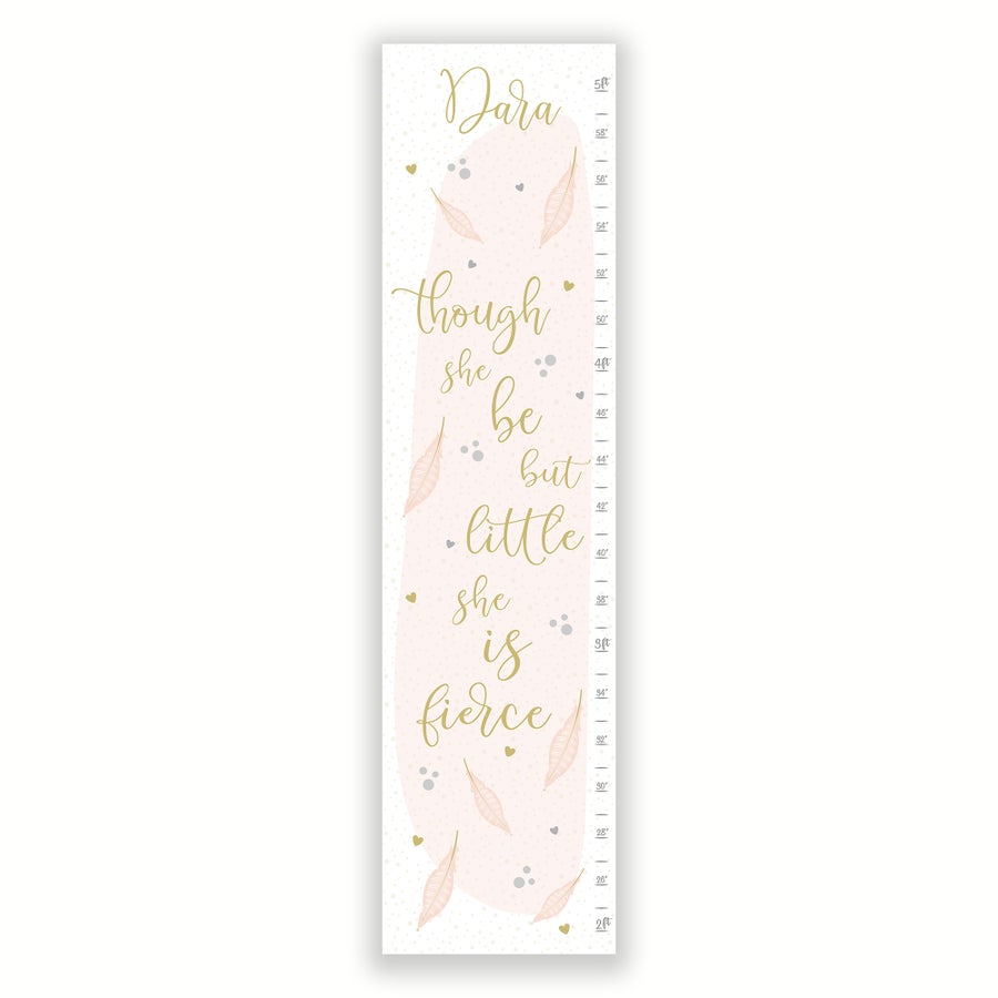 Image of Though She Be But Little Blush Pink Feathers Personalized Canvas Growth Chart