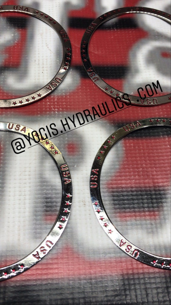 Image of Candy red USA chrome finish rings set.