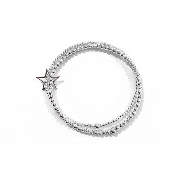 Image of Sterling Silver Double Star Connector Bracelet
