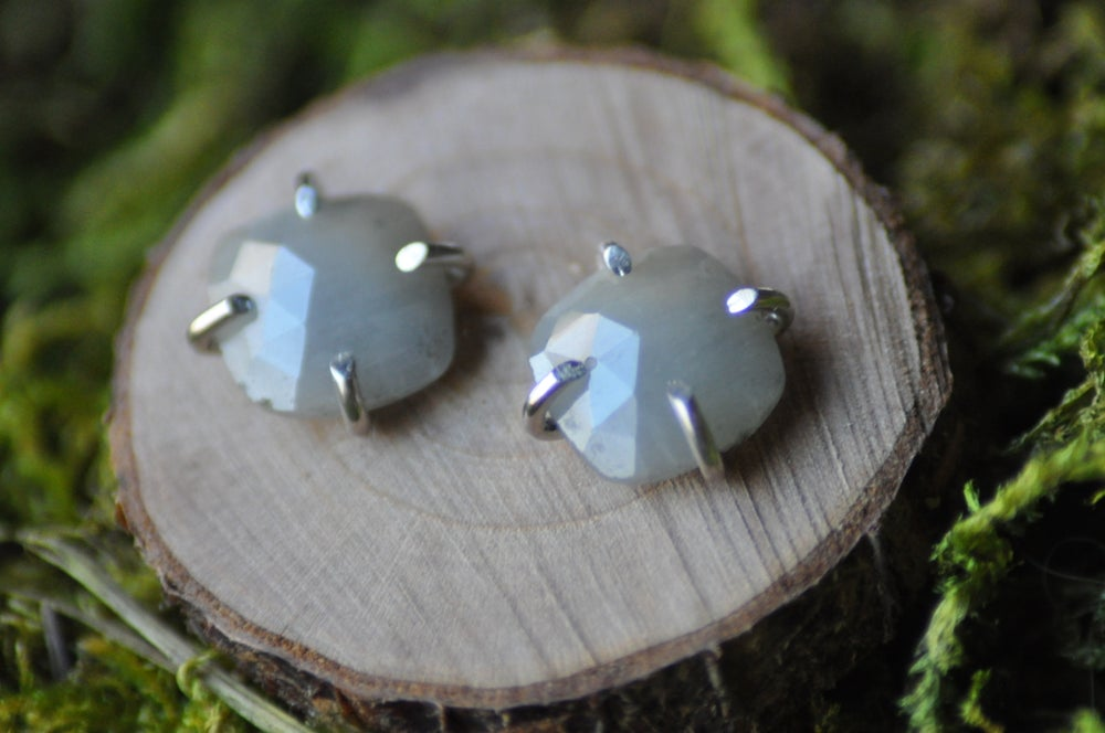 Muted Blue Rainbow Sapphire Studs in Sterling Silver