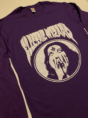 "Image of Electric Wizard "" Inverted Ankh Girl  Purple LongSleeve T-shirt"