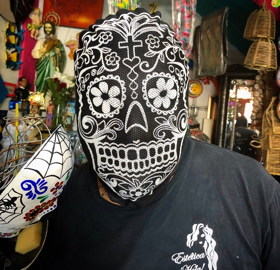 Image of Glow in the dark day of the dead fabric mask