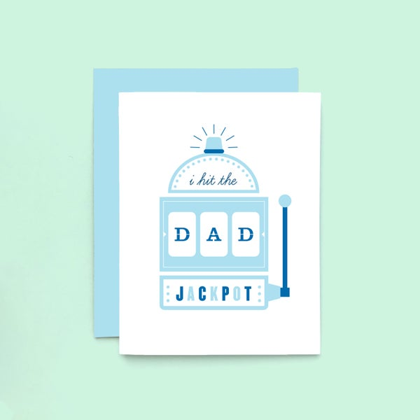 Image of dad jackpot letterpress card - happy father's day greeting card