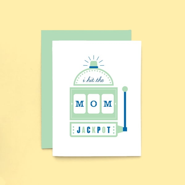 Image of mom jackpot letterpress card - happy mother's day greeting card