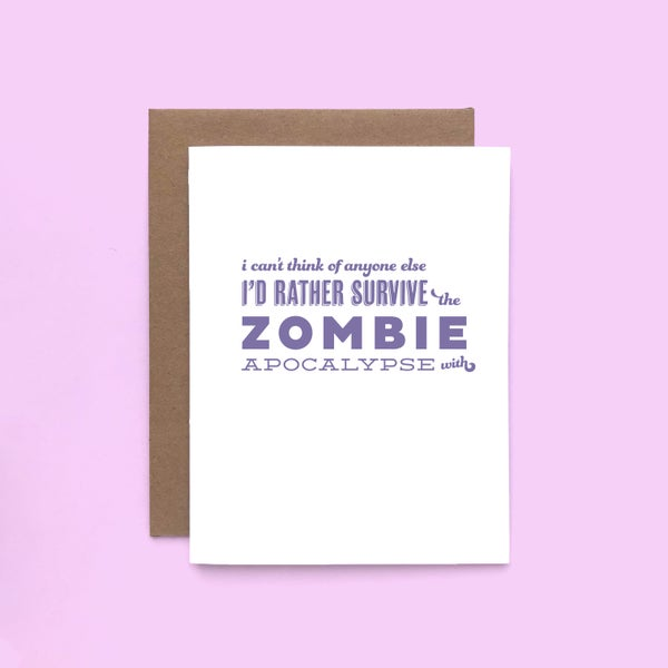 Image of zombie pick-up line letterpress card - love card - valentine's day