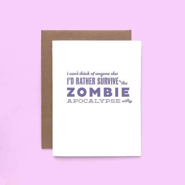 Image of zombie pick-up line letterpress card - love card - valentine's day