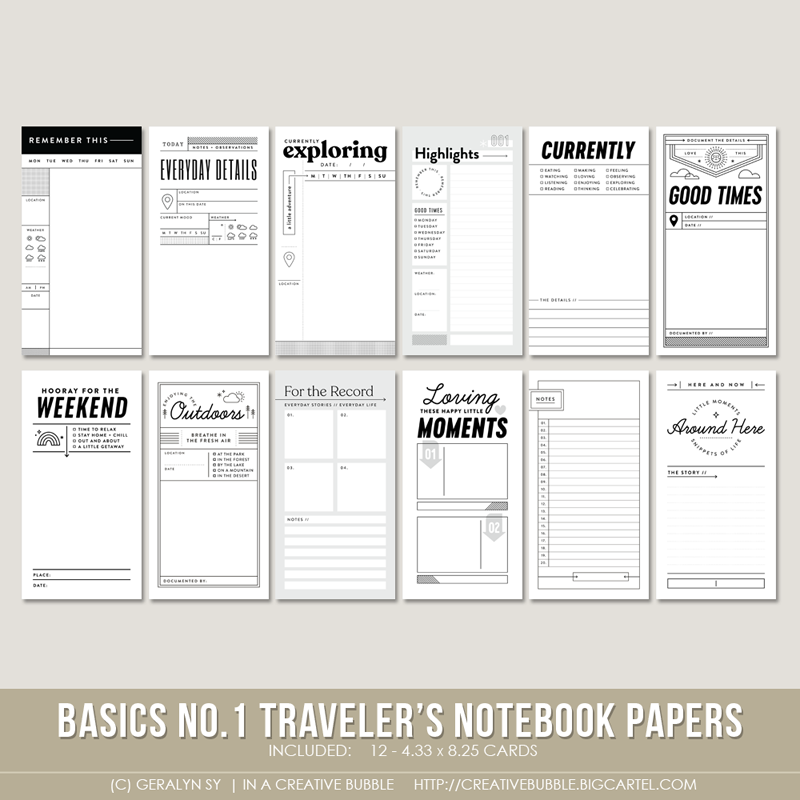 Image of Basics No.1 Traveler's Notebook Papers (Digital)