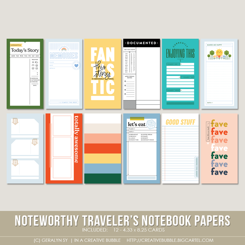 Image of Noteworthy Traveler's Notebook Papers (Digital)