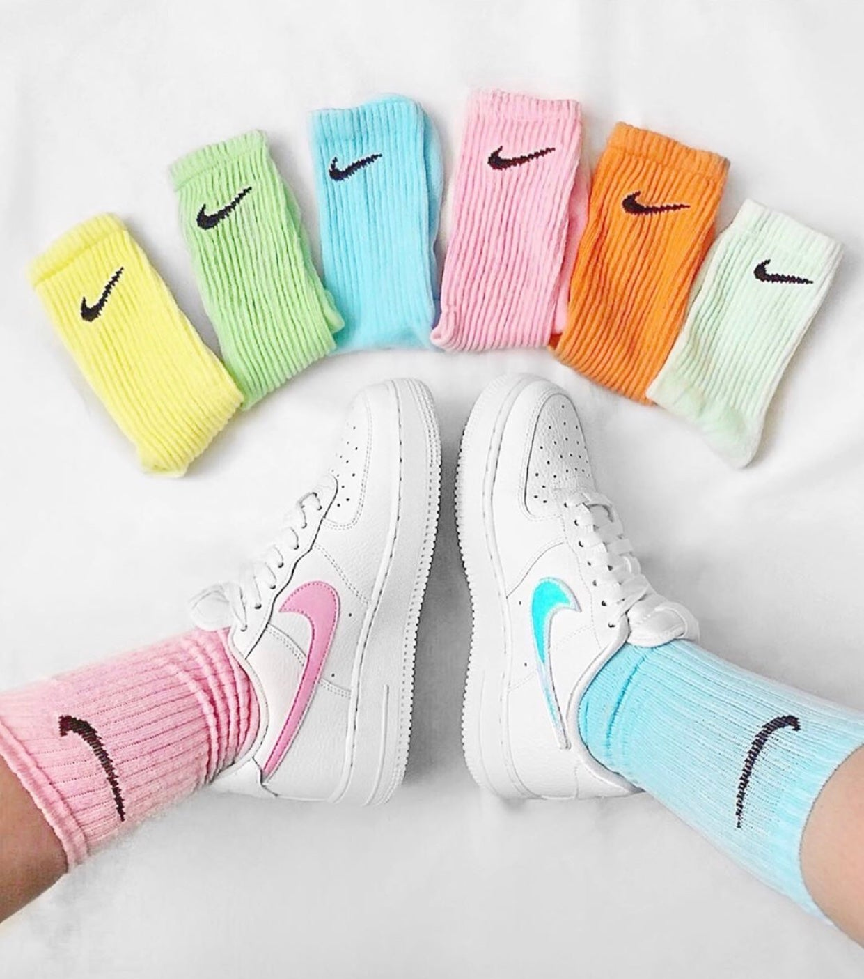 Image of Airforce 1 - Baby Pink / Baby Blue + SOCKS INCLUDED