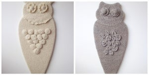 Image of custom hand-knit owls