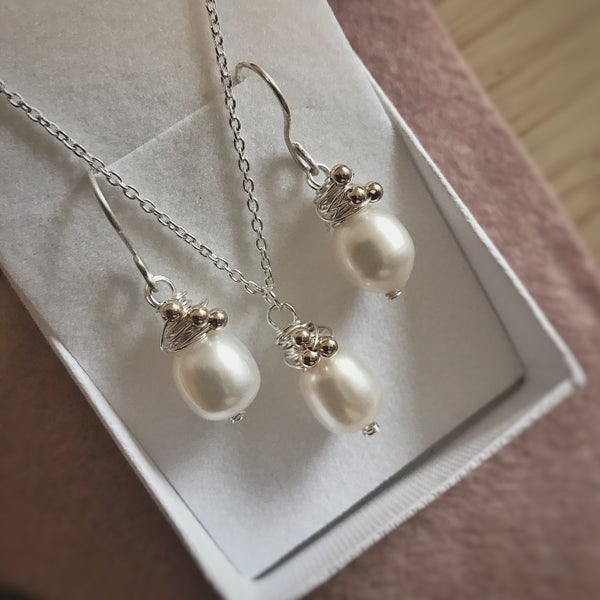 Image of 'Lamorna Earrings & Pendant' Natural Pearls in Sterling Silver