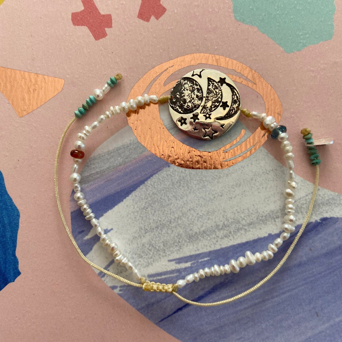 Image of Moons and pearls bracelet