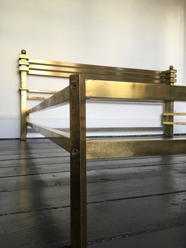 Image of Mid-Century Brass and Bronze Bed Frame by Luciano Frigerio, Italy