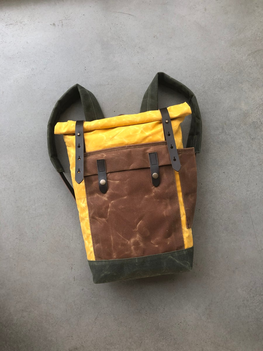 Image of Yellow waxed canvas leather Backpack medium size / Commuter backpack / Hipster Backpack with roll to