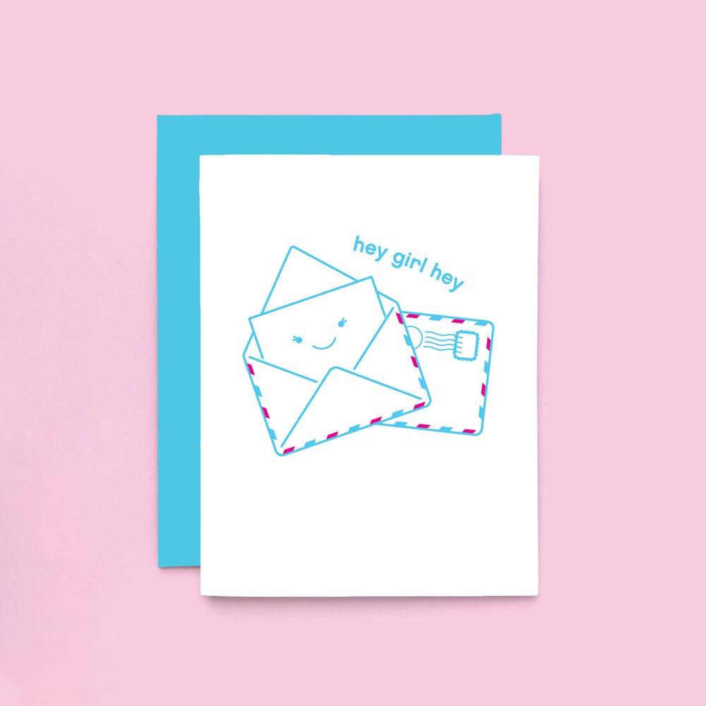 Image of hey girl hey letterpress card - just because card - thinking of you - happy mail