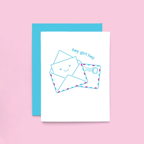 Image of hey girl hey card - just because card - thinking of you - happy mail
