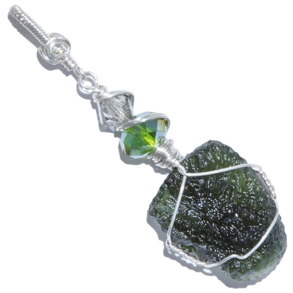 Image of Moldavite Wire Wrapped Sterling Pendant