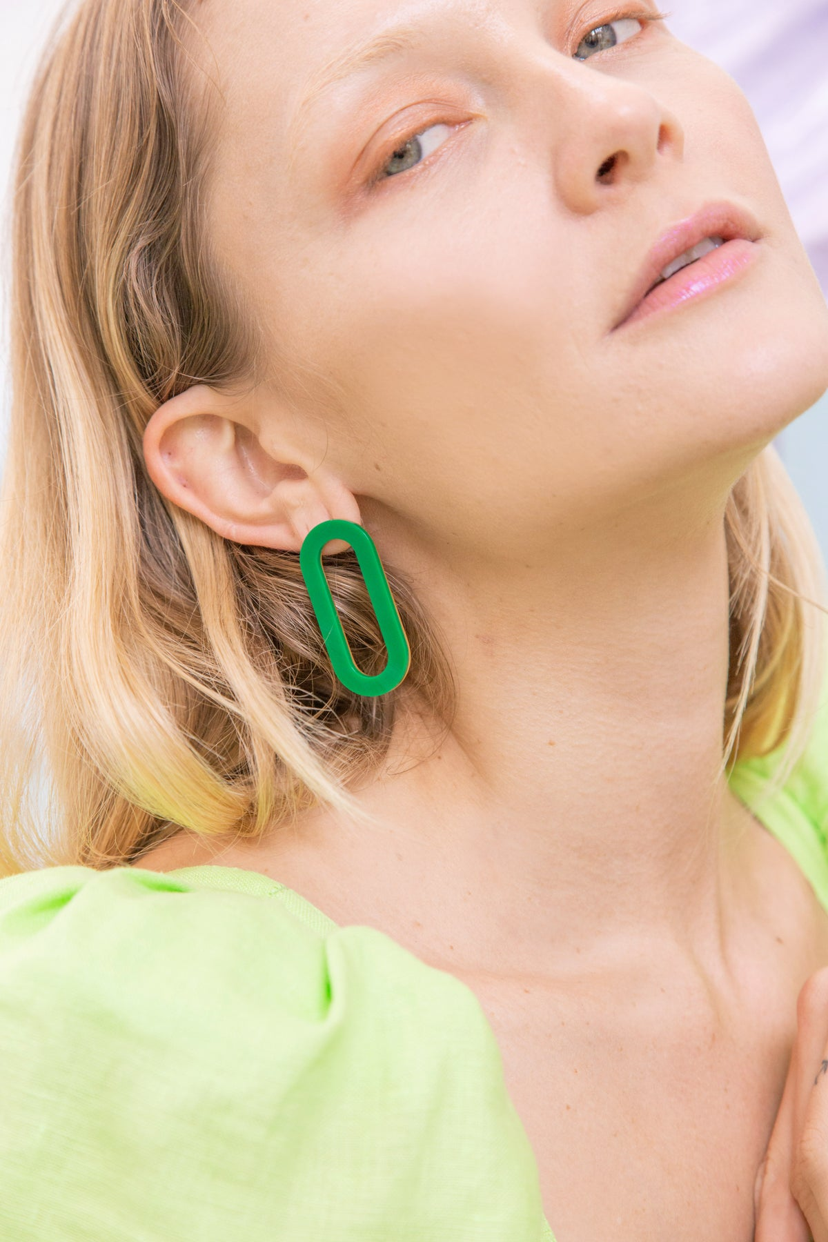 Image of Oval Earrings - Acrylic Green