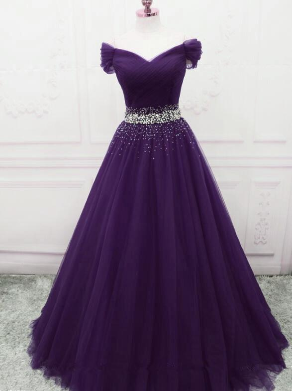 Lovely Dark Purple Tulle Long Formal Gown, Purple Evening Dress