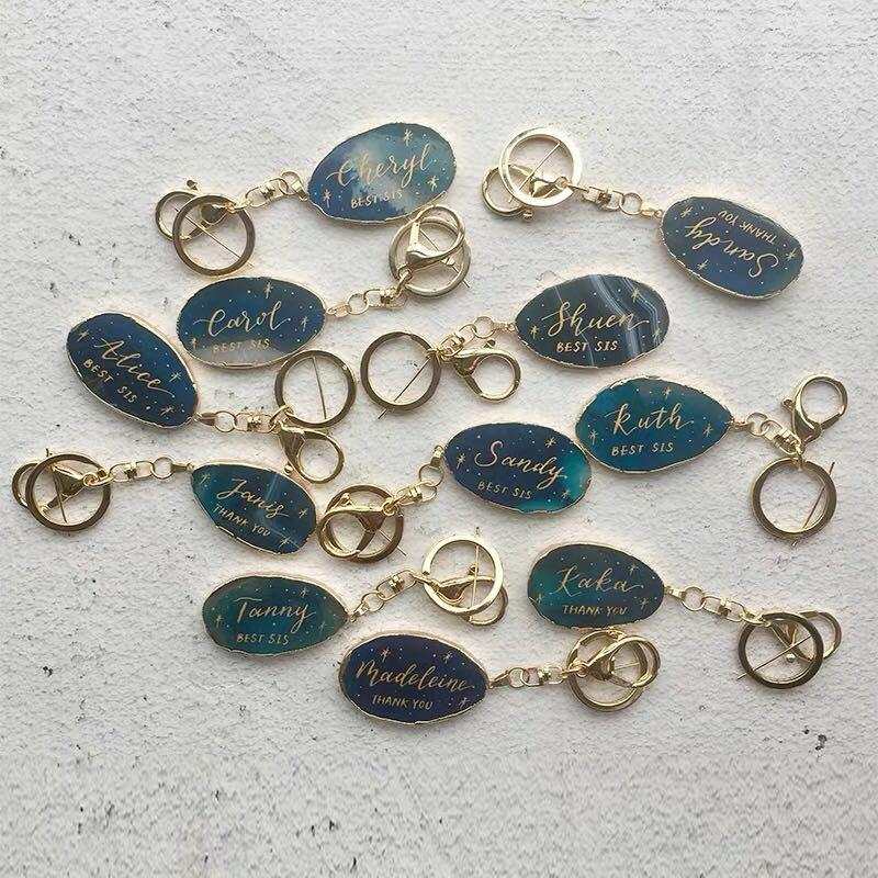 Image of Customised / Personalised Calligraphy Crystal Keychains