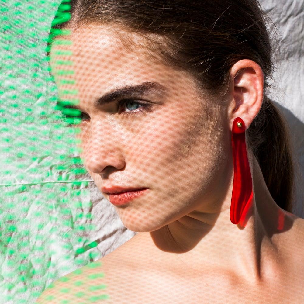 Image of RED ASYMMETRICAL PLEXIGLAS EARRINGS
