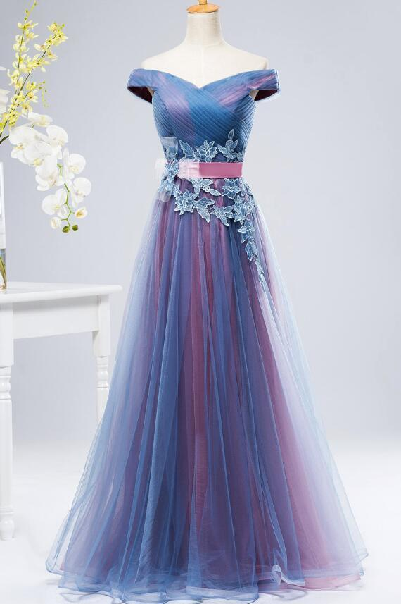 Charming Sweetheart Blue and Purple Long Party Gown, Off Shoulder Prom Dress