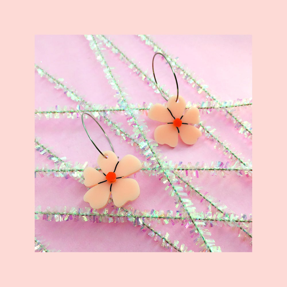 Image of Mini Blossom Hoops (Peach-Pink/Red)
