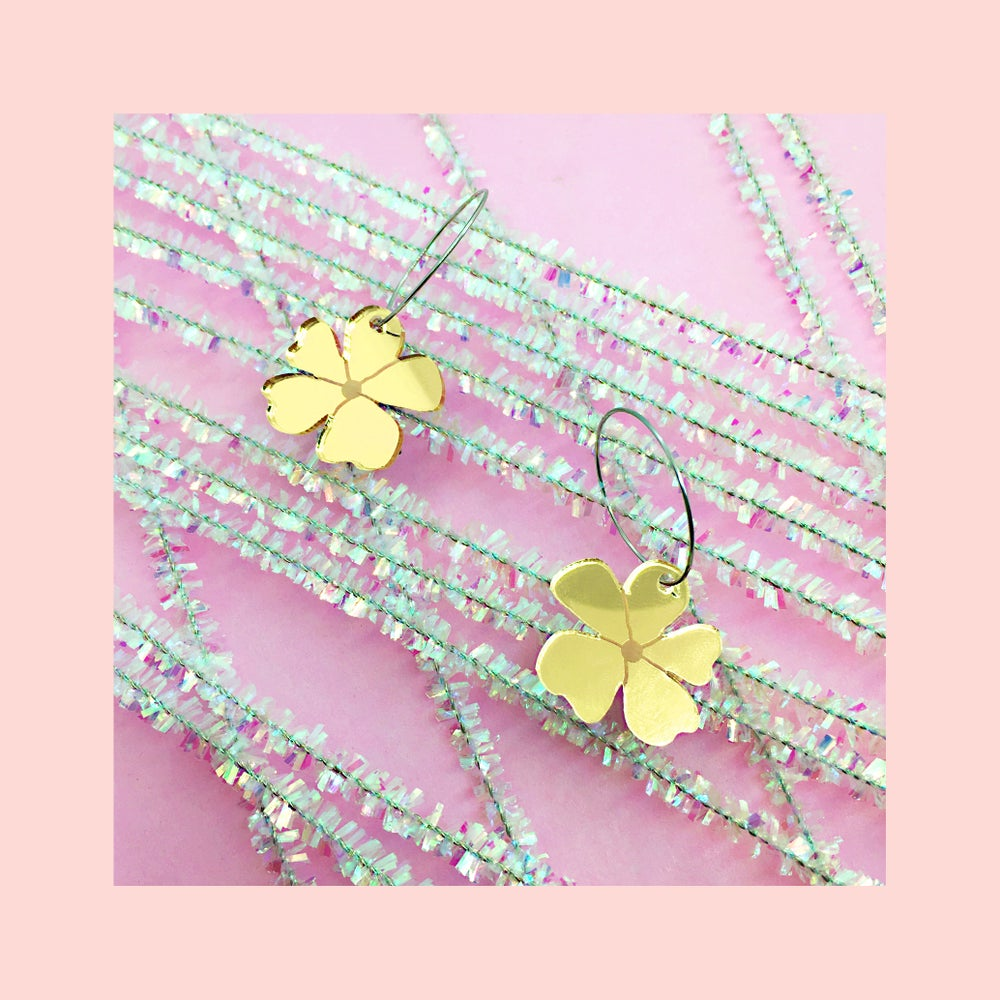 Image of Mini Blossom Hoops (Gold)