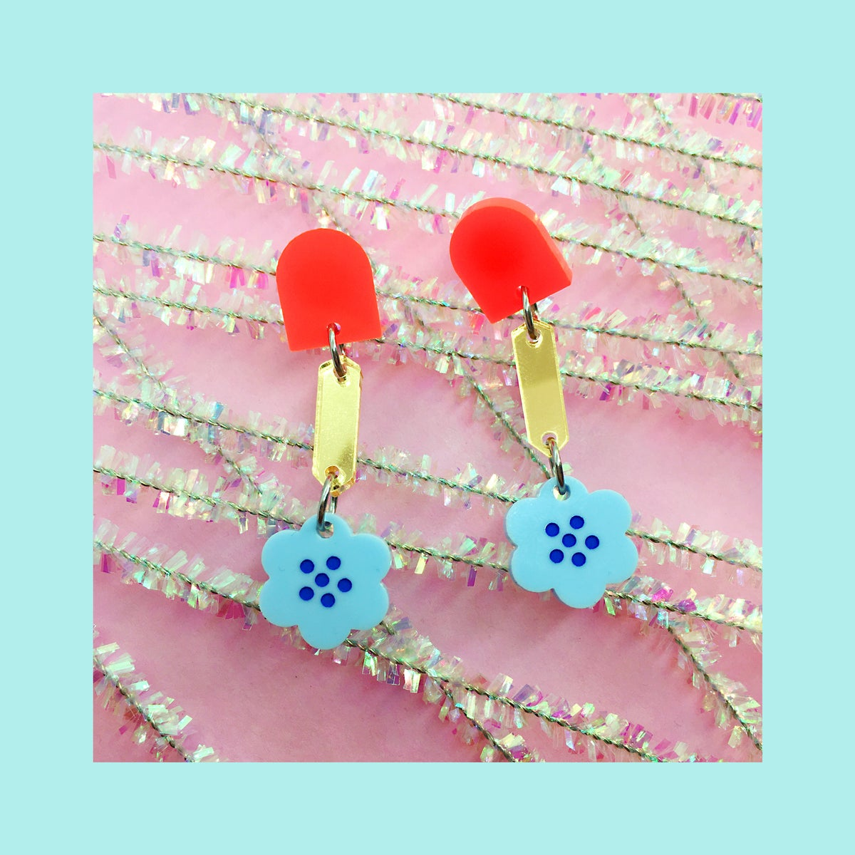 Image of Retro Blossoms - Mini (Neon Red/Gold/Baby Blue)