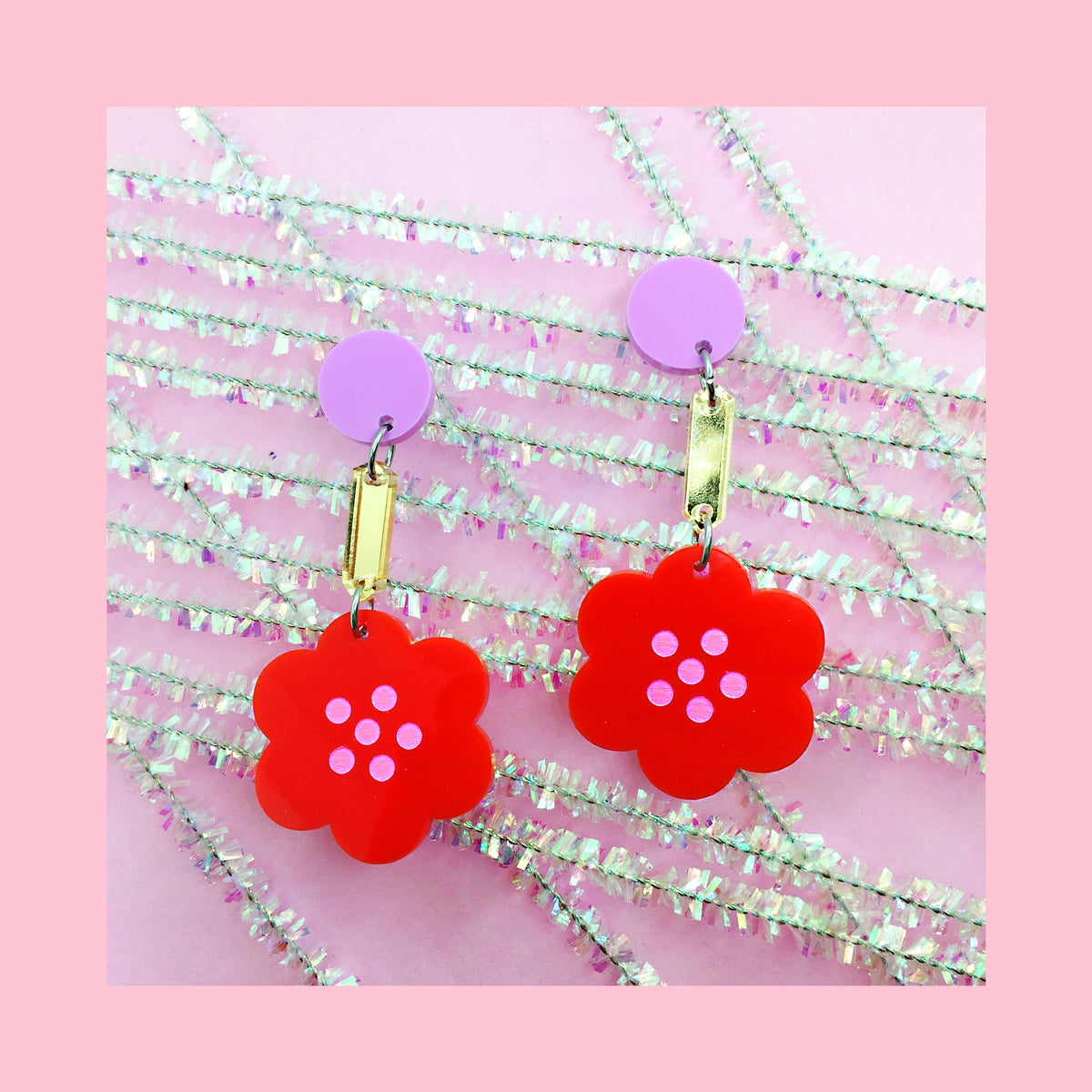 Image of Retro Blossoms - Statement (70s Red/Gold/Lilac)