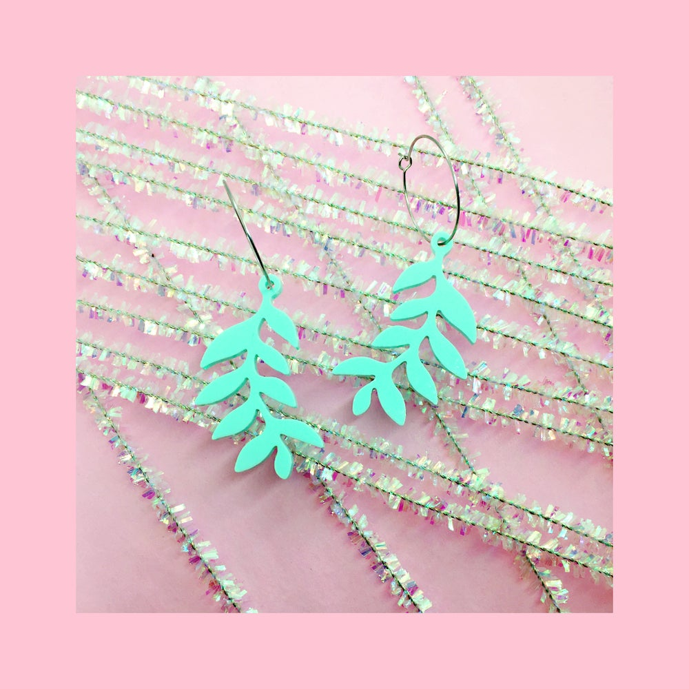 Image of Mini Fern Hoops (Mint)
