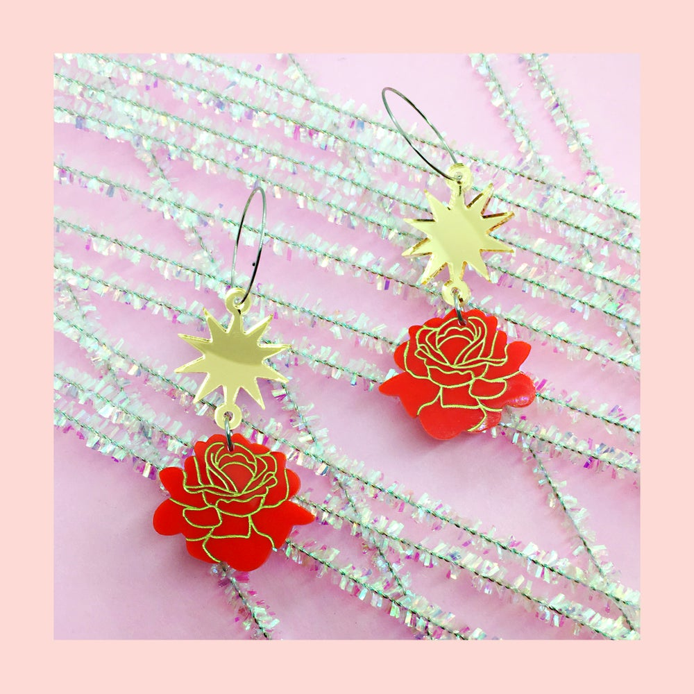 Image of Rose Burst Hoops (70s Red/Gold)
