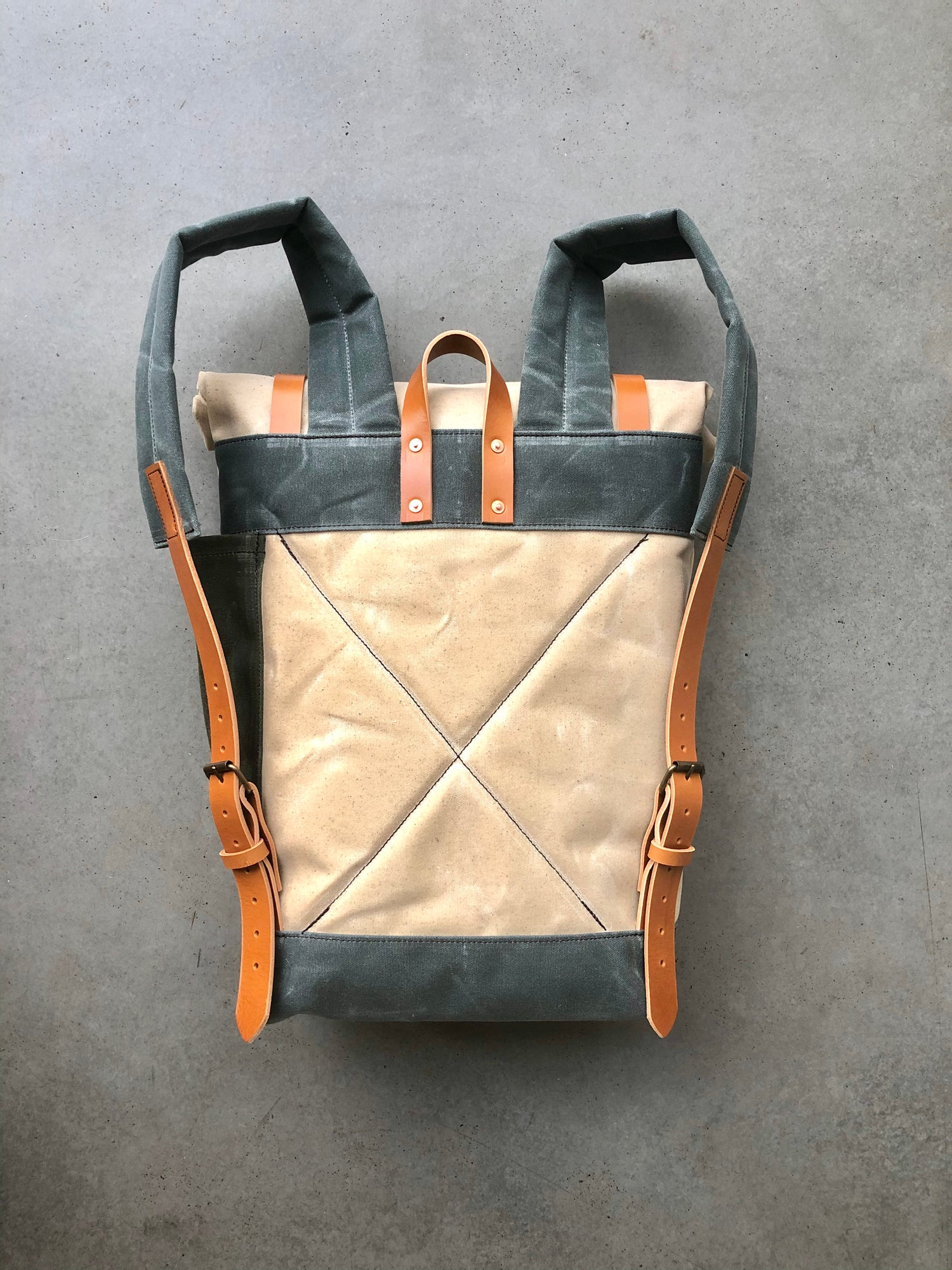 Image of Natural waxed canvas leather Backpack medium size / Commuter backpack / Hipster Backpack with roll t
