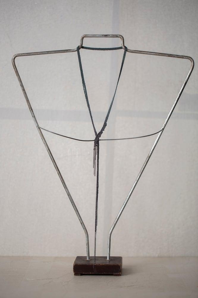 Image of SHAWL NECKLACE WITH BLACK RAW DIAMONDS by Stephanie Schneider