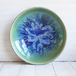 Image of Shallow Serving Bowl with Blue and Green Dripping Glazes, Made in USA