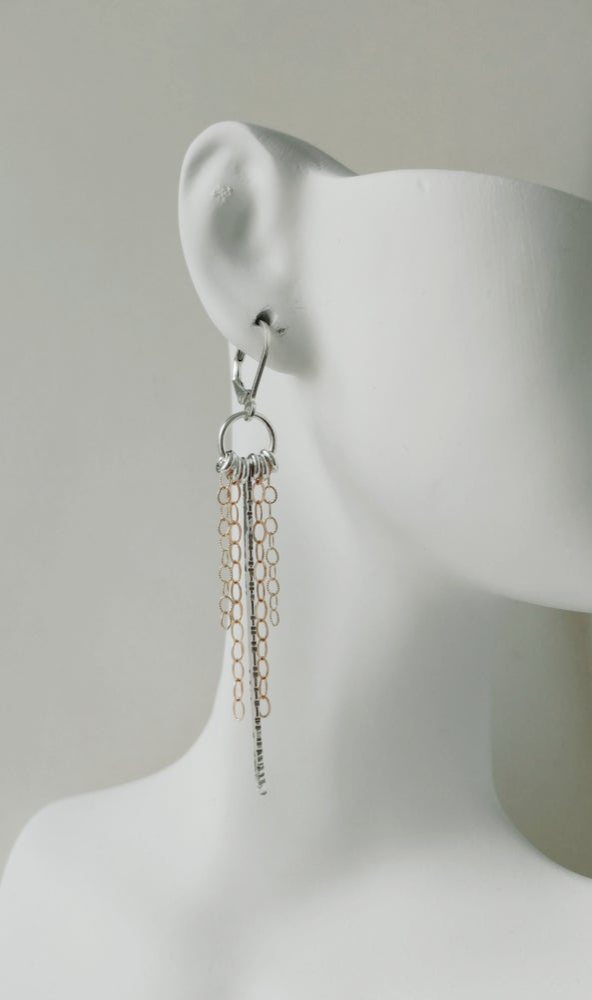 Image of spike & rings & chain earrings