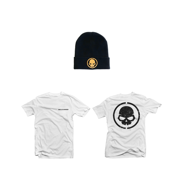 Image of WHITE LOGO TEE WITH BEANIE COMBO