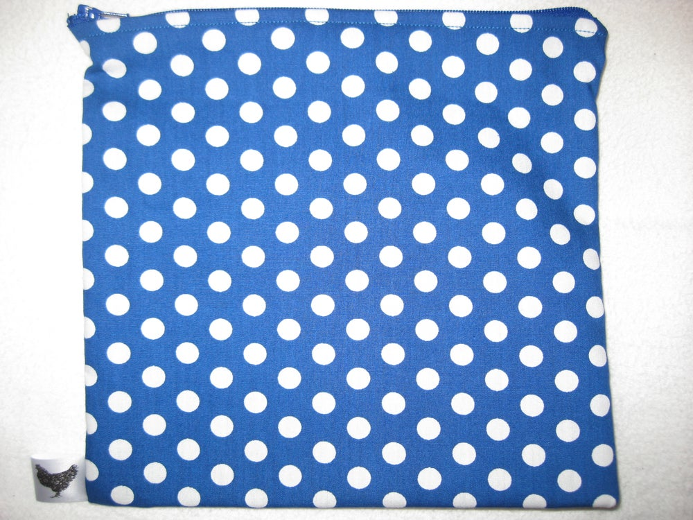Image of Large white polka dots on blue (new large pouch)