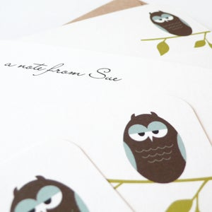 Image of Personalised owl notecards - set of eight